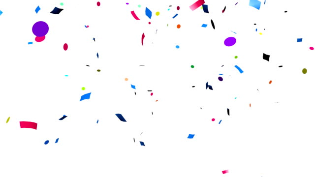Colorful confetti falling video