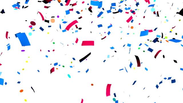 bunte konfetti fallen - luftschlangen und konfetti stock-videos und b-roll-filmmaterial