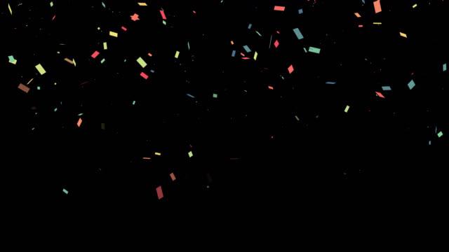 coriandoli colorati per feste con video canale alfa. concetto di elemento celebrazione - evento festivo video stock e b–roll