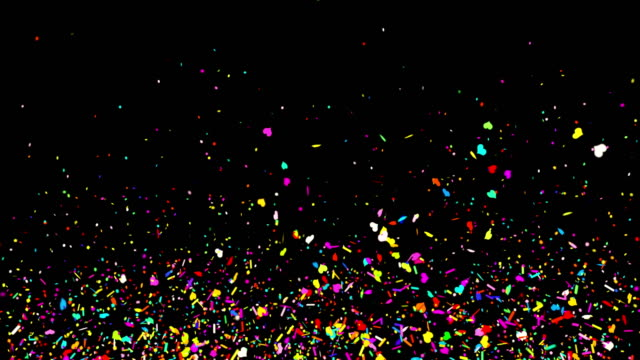 Colorful Confetti on Black Background Realistic Multicolored Confetti Multi Shape Gunshot Popper Explosions Shooting Falling black/green background. happy birthday stock videos & royalty-free footage
