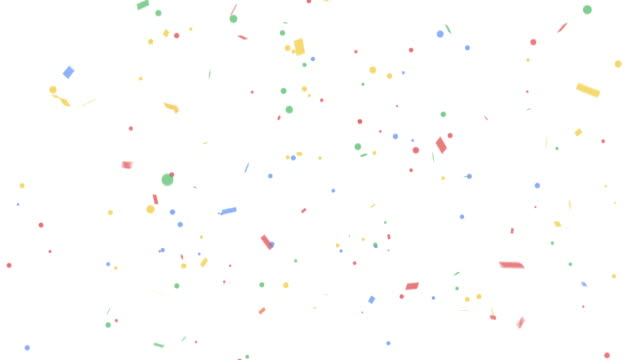 Colorful confetti party popper explosions on white backgrounds