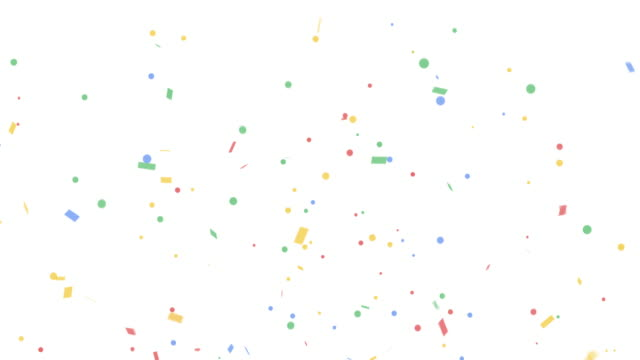 vídeos de stock e filmes b-roll de colorful confetti party popper explosions on white backgrounds - confetis