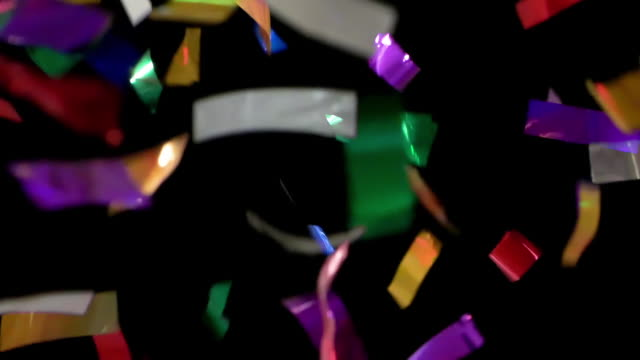HD - Colorful Confetti. Pieces slowly fall down HD - Colorful Confetti. Pieces slowly fall down pyrotechnic effects stock videos & royalty-free footage