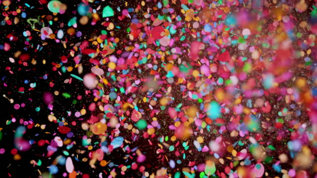 slo mo ld colorful confetti - vivid 4k video stock videos & royalty-free footage