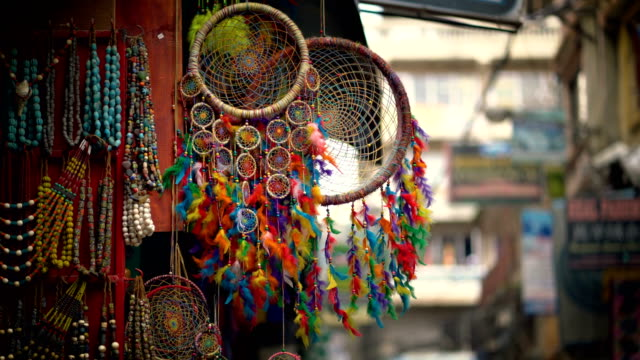 Colorful Dream Catcher Displayed For Sale at Thamel Street, Nepal 4K