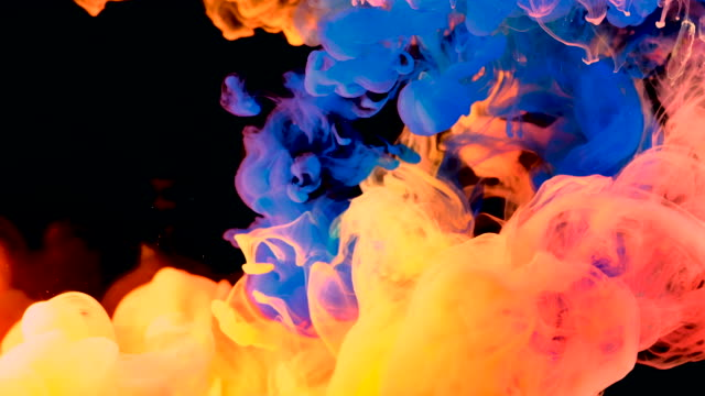 4K, Colorful drops in water, abstract color mix, drop of Ink color mix paint falling on water Colorful ink in water, 4K footage