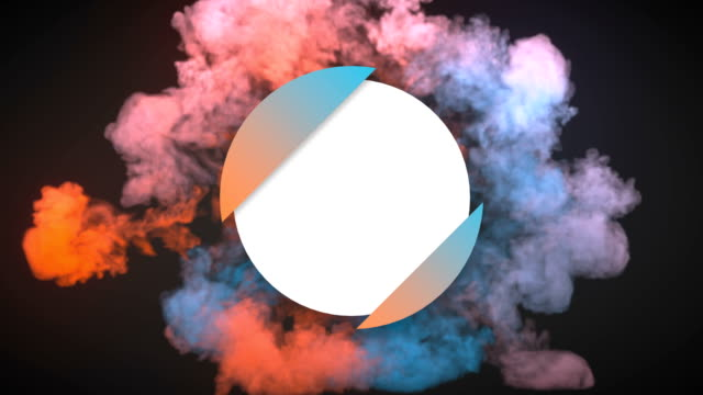 Colorful dynamics beautiful shockwave effect reveal circle badge with alpha matte channel for placing your text or logo. 3D rendering animation. 4K, Ultra HD resolution