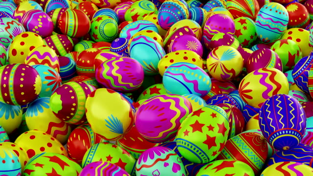 Colorful Easter eggs, fall into the frame and fill it completely. Include alpha channel video