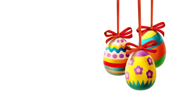 Colorful Easter Eggs with ribbons loopable video