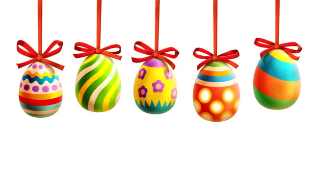 Colorful Easter Eggs with ribbons video