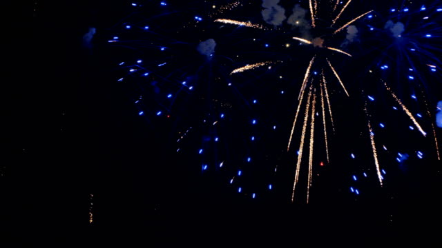 Colorful fireworks at holiday celebration. 4K. video