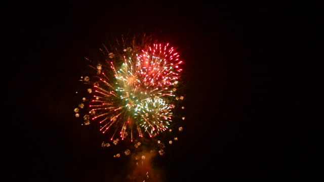 Colorful fireworks at night video