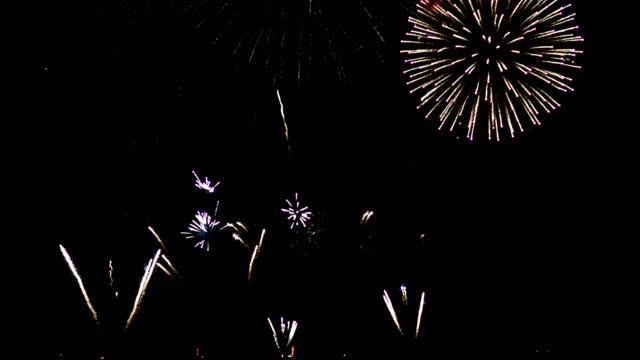 Colorful fireworks celebration on night sky. Colorful fireworks celebration on night sky. circa 4th century stock videos & royalty-free footage