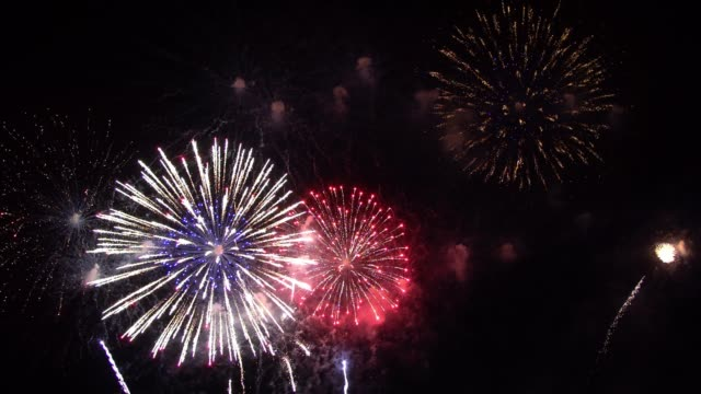 Colorful fireworks display night background video