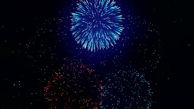 colorful fireworks display on the black screen background. powerful explosion of pyrotechnics. - giorno dell'indipendenza video stock e b–roll