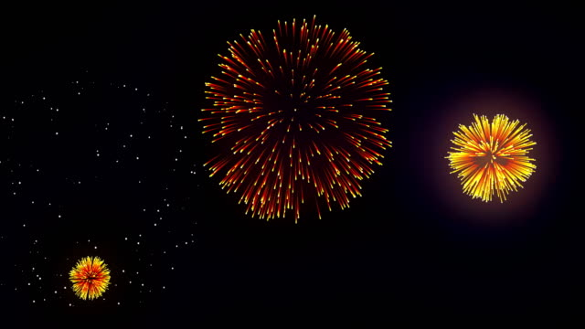 Colorful Fireworks Display on the Black Screen Background. Powerful Explosion of Pyrotechnics. Firework display at night on black background. Bright glaring red green yellow explosions. Amazingly beautiful. Salute for new year Christmas and other holidays fourth of july videos stock videos & royalty-free footage