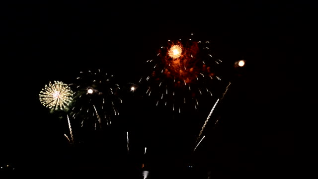 colorful fireworks exploding in the night sky - luglio video stock e b–roll