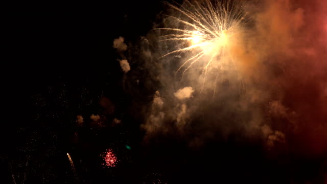 colorful fireworks for abstract , anniversary, celebration , 4th independence day and new year background or wallpaper - luglio video stock e b–roll