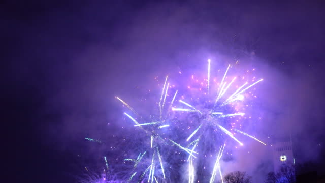 Colorful fireworks illuminating the sky New year's celebration with colorful fireworks illuminating the night sky bastille day stock videos & royalty-free footage