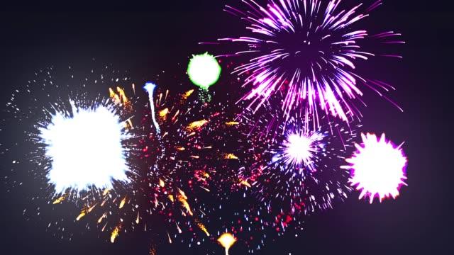 vídeos y material grabado en eventos de stock de lazo de coloridos fuegos artificiales - inauguration