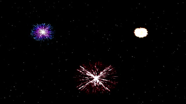 Colorful fireworks on star field video