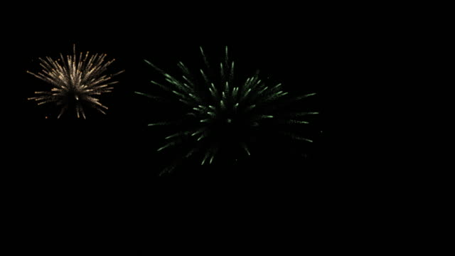 Colorful Fireworks on the black sky screen with alpha channel. Computer ganerated 4K footage. Fireworks background footage , start and end with black screen , with ALPHA channel , 4K , 30FPS pyrotechnic effects stock videos & royalty-free footage