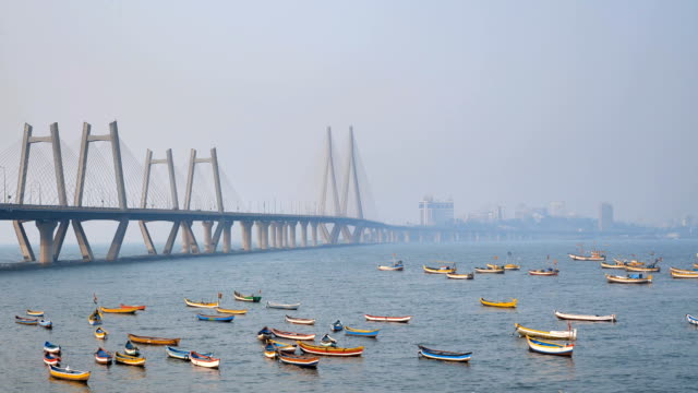 Colorful fishing boats are parked under the modern cable satyed bridge video