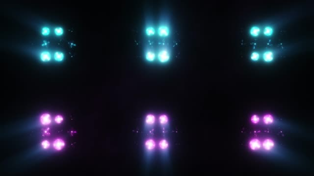 Colorful flashing of multicolored spotlights of light bulbs on the texture of squares. Seamless loop 4k animation