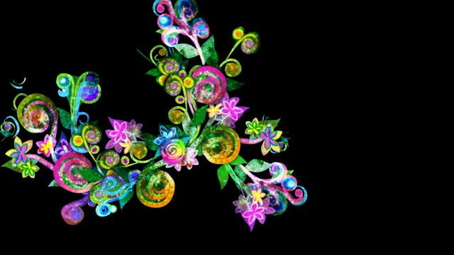 Colorful floral growth animation Colorful animation of spreading flowers and vines, with a grunge texture. Could be used to symbolize many concepts such as: creativity, growth, ideas, imagination, new life, reaching out etc. HD, NTSC-D1, PAL and Web sizes. Web versions have choice of 16x9 or 4x3 aspect ratio (by switching between HD and NTSC/PAL standards). Progressive frames. You may also be interested in a version which loops: floral pattern stock videos & royalty-free footage