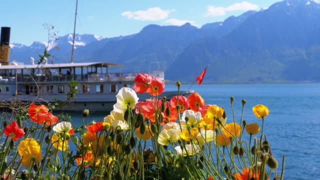 Colorful Flowers against Alpine Mountains and Passing Ship on Lake Geneva. Switzerland