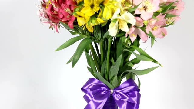 vídeos de stock, filmes e b-roll de buquê de flores coloridas de alstroemeria. inferior ao movimento superior - arméria