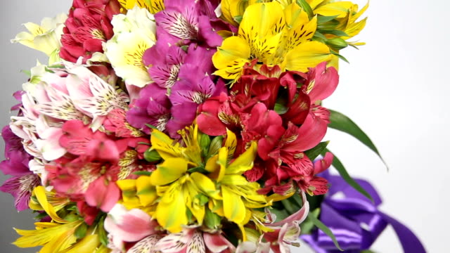 colorful flowers bouquet of alstroemeria turn. camera at an angle - триллиум стоковые видео и кадры b-roll