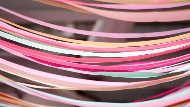 colorful flowing ribbons - blue yellow band bildbanksvideor och videomaterial från bakom kulisserna