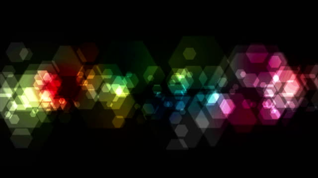 colorful geometric hexagons tech video animation - clip art video stock e b–roll