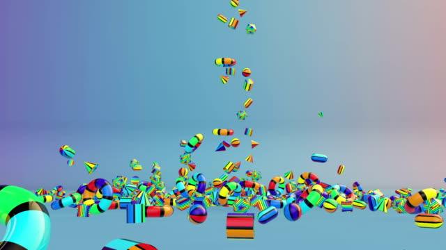 Colorful Geometric Objects Falling, Alpha video