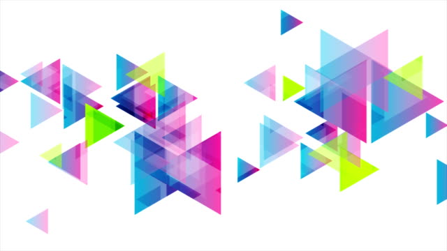 Colorful geometric triangles tech video animation