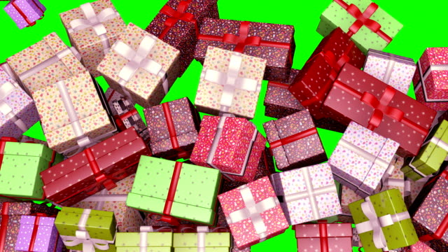 Colorful Gift Boxes Filling Screen 4k Green Screen Christmas, Boxes, Falling, Animation, Colorful birthday background stock videos & royalty-free footage