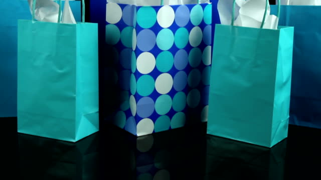 Colorful gift or shopping bags video
