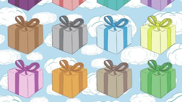 カラフルなギフトと雲 - アイコン プレゼント点の映像素材/bロール