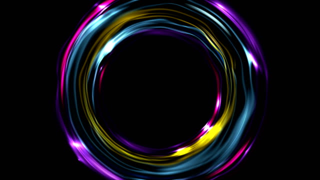 Colorful glowing electric neon rings video animation video