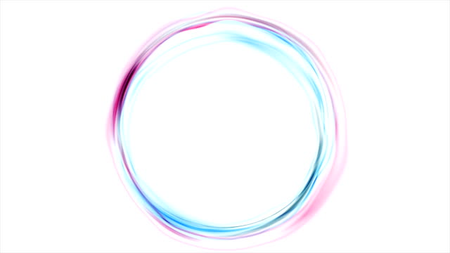 Colorful glowing pink blue neon circles video animation