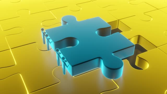 Colorful gold shiny puzzle. 3d rendering