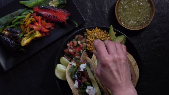 colorful gourmet pulled pork tacos. - fine dining stock videos and b-roll footage