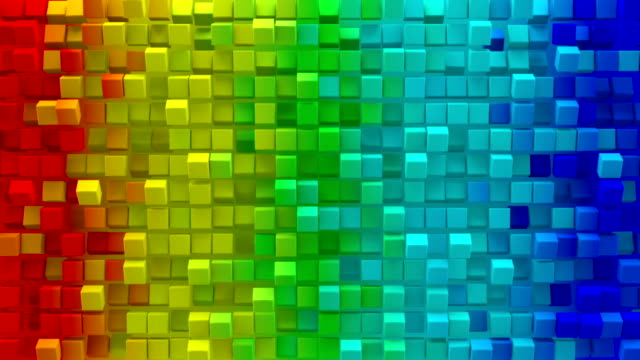 Colorful gradient cubes 3D render loopable animation video