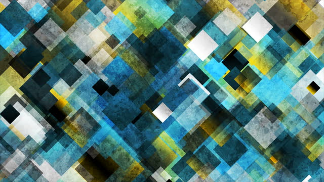 Colorful grunge squares abstract geometric mosaic motion background