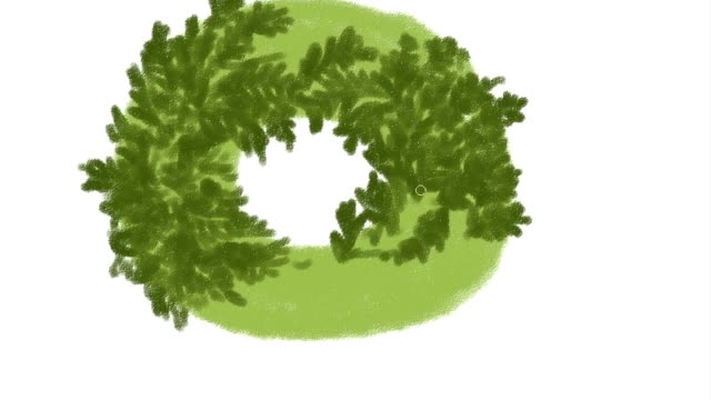 Colorful hand drawing Christmas wreath on a white background. video