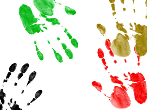 Colorful hand-prints - digital animation Made using vector palm print and AE. mare stock videos & royalty-free footage