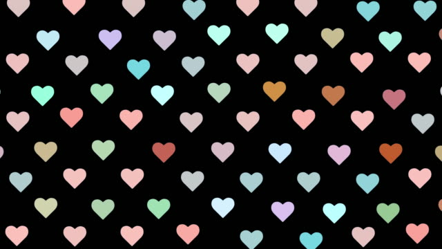 Video Colorful heart symbols animation on a black background