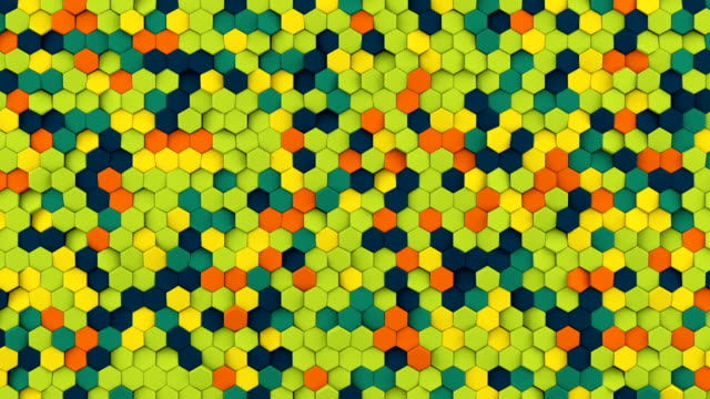 Colorful hexagons seamless loop abstract 3D animation video