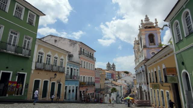 Colorful Historical Buildings in Pelourinho, Salvador, Bahia, Brazil video